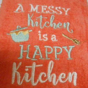 A Messy Kitchen is a Happy Kitchen hand Towel